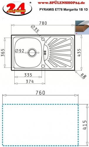 PYRAMIS Küchenspüle ET78 (78x43,5) Margarita 1B 1D Einbauspüle / Edelstahlspüle Siebkorb als Drehknopfventil