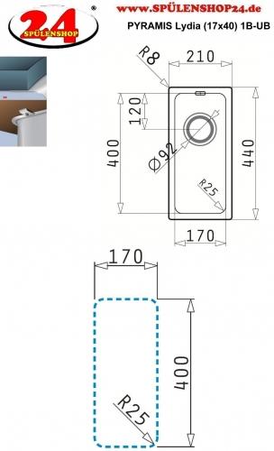 PYRAMIS Küchenspüle Lydia (17x40) 1B Unterbauspüle mit Siebkorb als Stopfen- oder Drehknopfventil