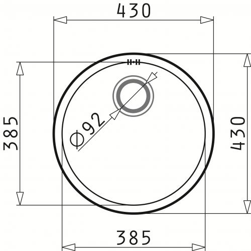 Pyramis Küchenspüle CR-Rundbecken (Ø38,5x15) Edelstahlspüle / Flächenbündig Siebkorb als Stopfenventil 3 1/2