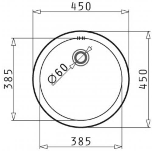 PYRAMIS Küchenspüle CR-Rundbecken (Ø38,5x15) Einbauspüle / Edelstahlspüle Ablauf mit Gummistopfen 1 1/2