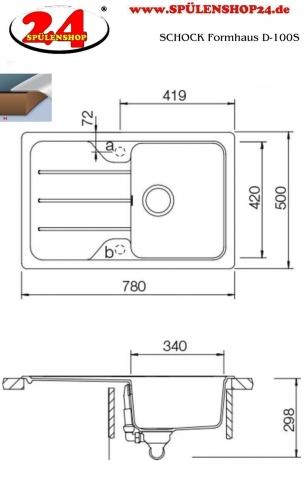 SCHOCK Küchenspüle Formhaus D-100S Cristalite® Granitspüle / Einbauspüle Basic Line in 4 Farben mit Drehexcenter