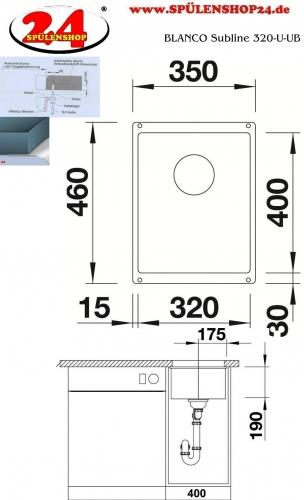 {Lager} BLANCO Küchenspüle Subline 320-U-UB Silgranit® PuraDur®II Granitspüle / Unterbauspüle Farbe Alumetallic