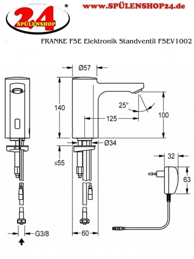 FRANKE F5E Elektronik Standventil F5EV1002