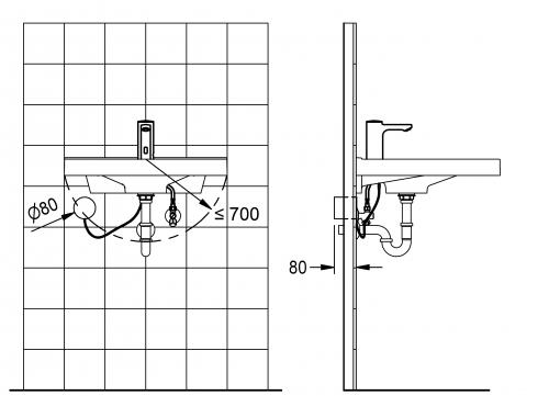 FRANKE F5E Elektronik Standventil F5EV1004 DN 15 für Waschanlagen, opto-elektronisch gesteuert