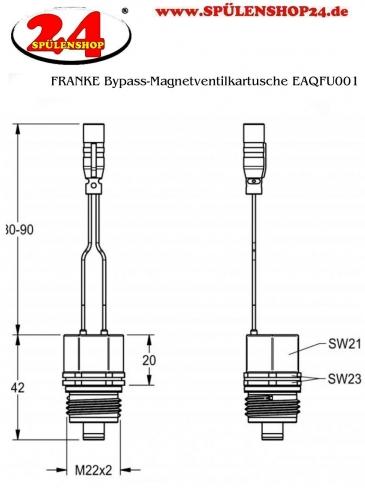 FRANKE Bypass-Magnetventilkartusche EAQFU0001 DN 5, bistabil, mit wasserdichtem Stecker und Sieb