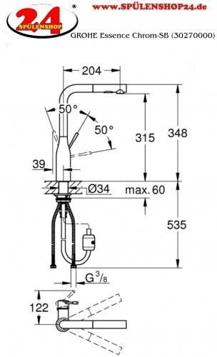 GROHE Küchenarmatur Essence Einhebelmischer Chrom mit Zugauslauf und Brausefunktion (30270000)
