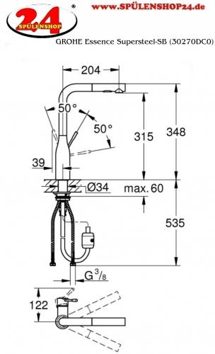 {LAGER} GROHE Küchenarmatur Essence Einhebelmischer Supersteel mit Zugauslauf und Brausefunktion (30270DC0)
