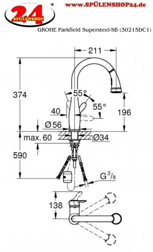 {LAGER} GROHE Küchenarmatur Parkfield Einhebelmischer Supersteel mit Zugauslauf und Brausefunktion (30215DC1)