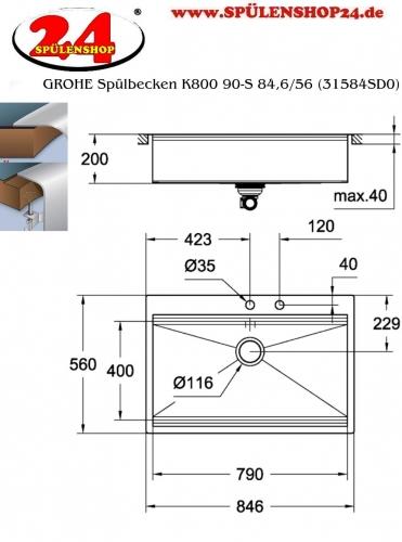 GROHE Spülbecken K800 90-S 84,6/56 (31584SD0)