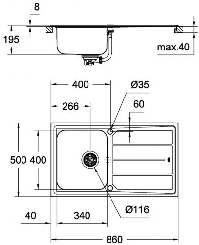 GROHE Spülbecken K500 45-S 86/50 (31571SD0)