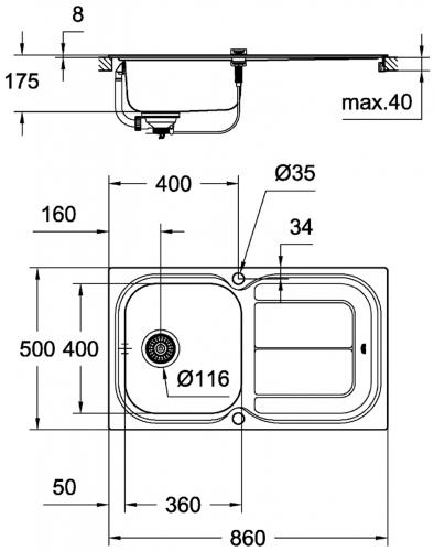 GROHE Spülbecken K300 45-S 86/50 (31563SD0)