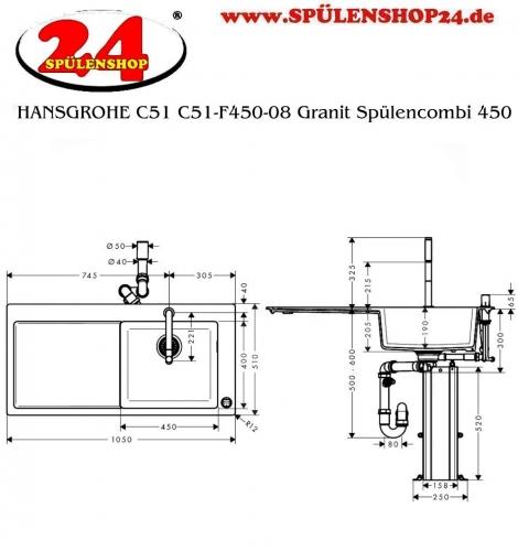 HANSGROHE C51 C51-F450-08 Granit Spülencombi (43219000) 450 mit Abtropffläche