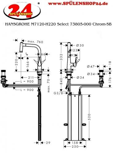HANSGROHE C51 C51-F450-01 Granit Spülencombi (43212000) 450 Select