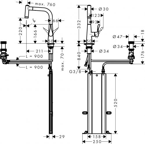 HANSGROHE C71 C71-F450-02 Spülencombi Chrom (43208000) 450 Select mit Abtropffläche