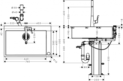 HANSGROHE C71 C71-F660-03 Spülencombi Chrom (43209000) 660 Select