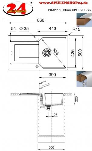 FRANKE Küchenspüle Urban UBG 611-86 Fragranit+ Einbauspüle / Granitspüle Flächenbündig mit Drehknopfventil