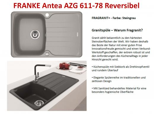 FRANKE Küchenspüle Antea AZG 611-78 Fragranit+ Einbauspüle / Granitspüle mit Drehknopfventil