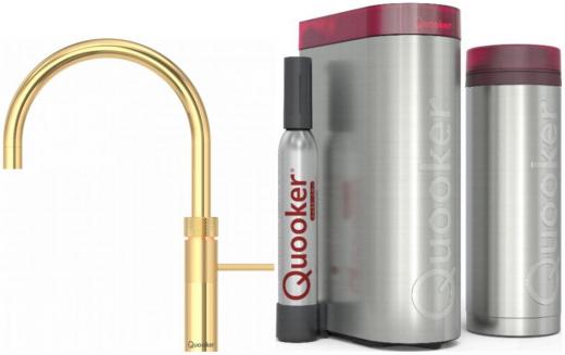 QUOOKER FUSION Round Gold Edition VAQ PRO3 mit CUBE *Der Wasserhahn, der alles kann! (3FRGLDCUBE)