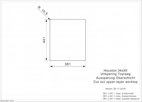 REGINOX Houston 34x40-FL Einbauspüle Edelstahl 3 in 1 mit Flachrand Siebkorb als Stopfenventil