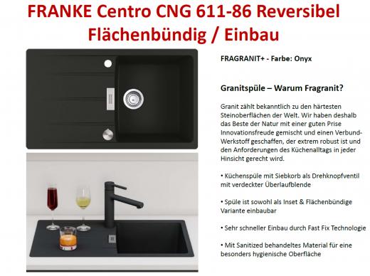FRANKE Küchenspüle Centro CNG 611-86 Fragranit+ Einbauspüle / Granitspüle Flächenbündig mit Drehknopfventil