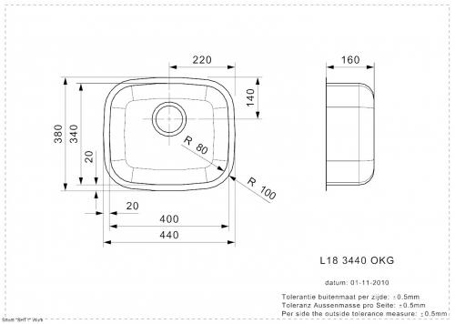 REGINOX L18 3440 OKG Einbauspüle Edelstahl 3 in 1 mit Flachrand Siebkorb als Stopfenventil