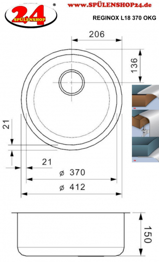 REGINOX Küchenspüle L18 370 (L) OKG Einbauspüle Edelstahl mit Flachrand Rundbecken 3 in 1 mit Siebkorb als Stopfenventil