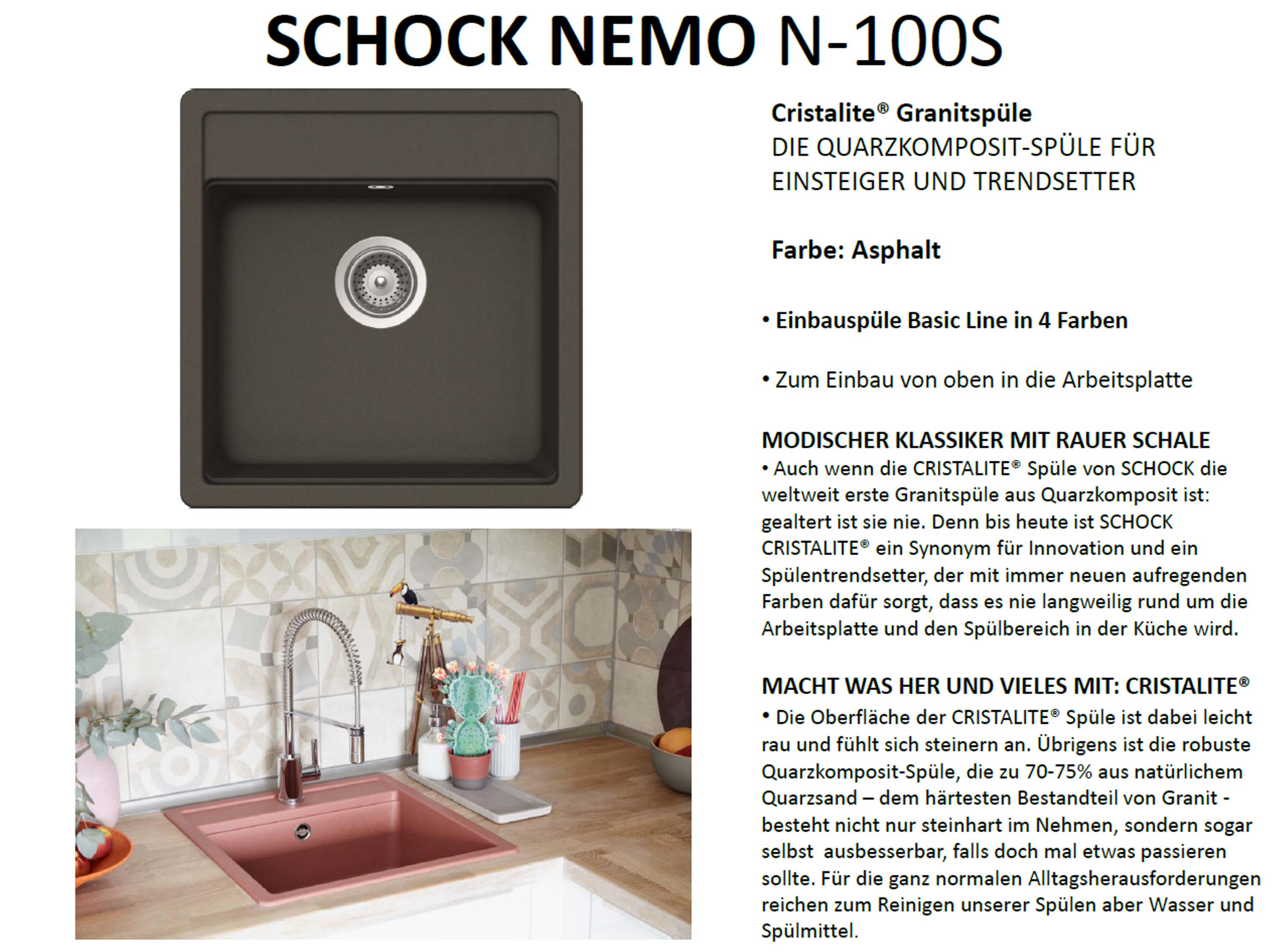 Granitspüle Schock Nemo N-100 S Cristalite Spülbecken Einbau-Spüle Küchenspüle