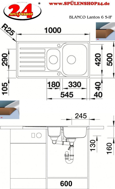 blanco lantos 6 s if kaufen edelstahl sp len g nstig. Black Bedroom Furniture Sets. Home Design Ideas