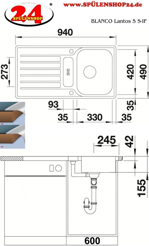blanco lantos 5 s if kaufen sp le g nstig sp lbecken. Black Bedroom Furniture Sets. Home Design Ideas