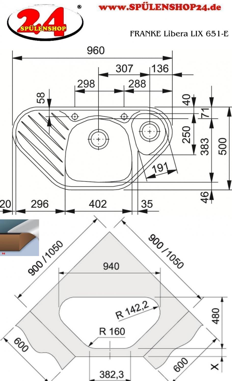 franke libera lix 651 e edelstahl ecksp le mit drehexcenter 1010010862 finden sie im sp lenshop24. Black Bedroom Furniture Sets. Home Design Ideas