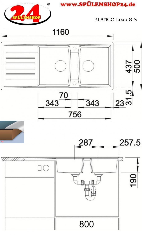 blanco lexa 8 s preiswert kaufen doppelsp le silgranit. Black Bedroom Furniture Sets. Home Design Ideas