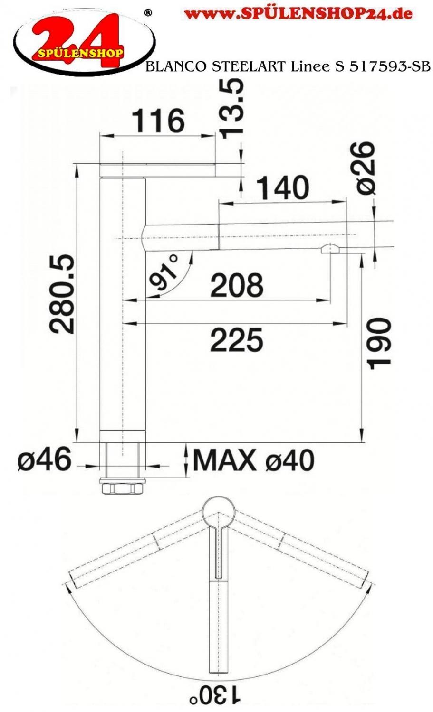 blanco linee s 517593 online wasserhahn k che preiswert. Black Bedroom Furniture Sets. Home Design Ideas