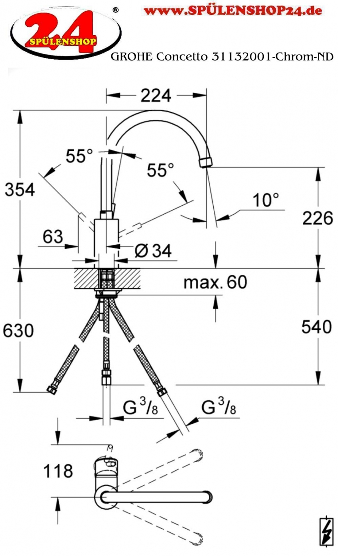 modell grohe concetto 31132001 markenprodukt der firma grohe k chenarmatur sp ltischarmatur. Black Bedroom Furniture Sets. Home Design Ideas