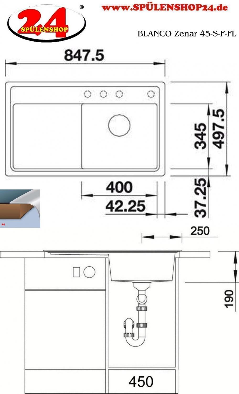 blanco zenar 45 s f kaufen silgranit sp len preiswert. Black Bedroom Furniture Sets. Home Design Ideas