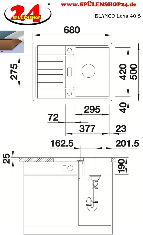 blanco lexa 40 s kaufen sp le silgranit online g nstig. Black Bedroom Furniture Sets. Home Design Ideas