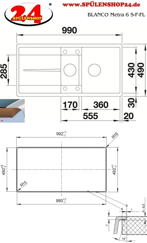 blanco metra 6 s f g nstig silgranit sp len kaufen. Black Bedroom Furniture Sets. Home Design Ideas