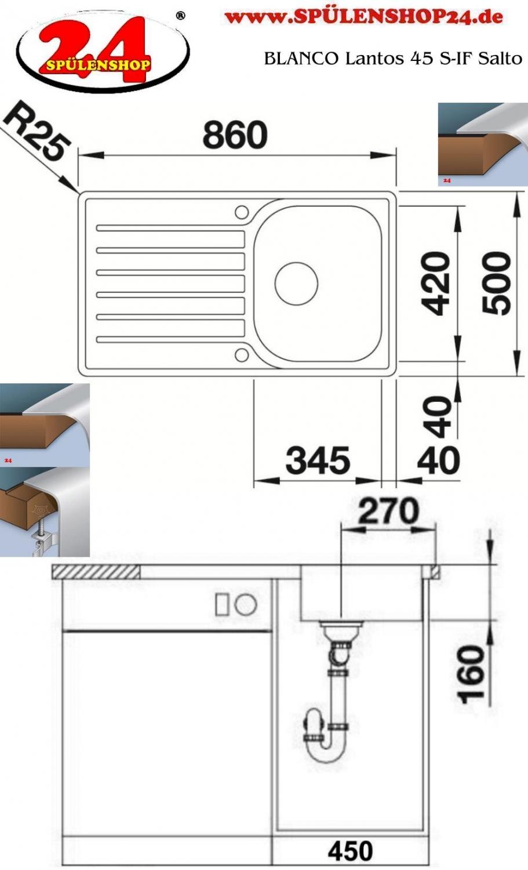 blanco lantos 45 s if salto kaufen sp lbecken preiswert. Black Bedroom Furniture Sets. Home Design Ideas