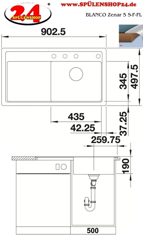 blanco zenar 5 s f kaufen silgranit sp len preiswert. Black Bedroom Furniture Sets. Home Design Ideas