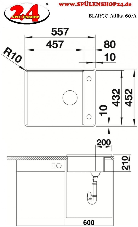 blanco attika 60 a 521597 kaufen sp len online g nstig. Black Bedroom Furniture Sets. Home Design Ideas