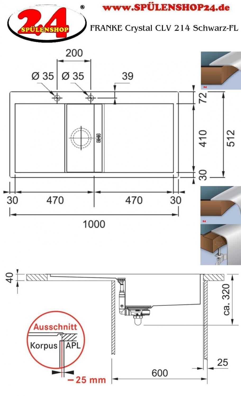 franke crystal clv 214 schwarz jetzt versandkostenfrei bestellen im sp lenshop24. Black Bedroom Furniture Sets. Home Design Ideas