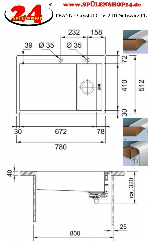 franke crystal clv 210 schwarz jetzt versandkostenfrei bestellen im sp lenshop24. Black Bedroom Furniture Sets. Home Design Ideas