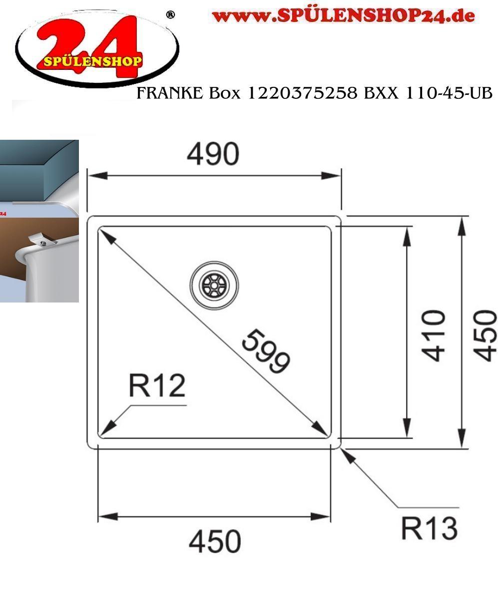 FRANKE BOX BXX 110-45 Spüle Edelstahl 122.0375.258 11012