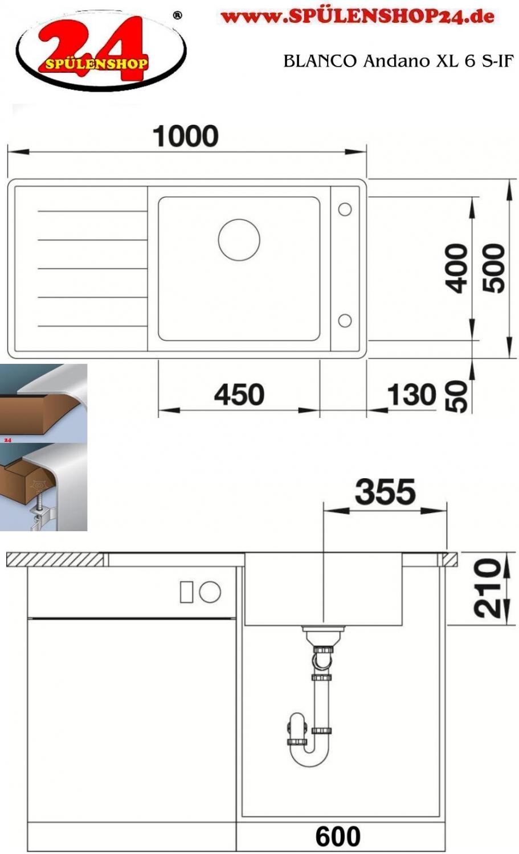 blanco andano xl 6 s if g nstig kaufen edelstahlsp len. Black Bedroom Furniture Sets. Home Design Ideas