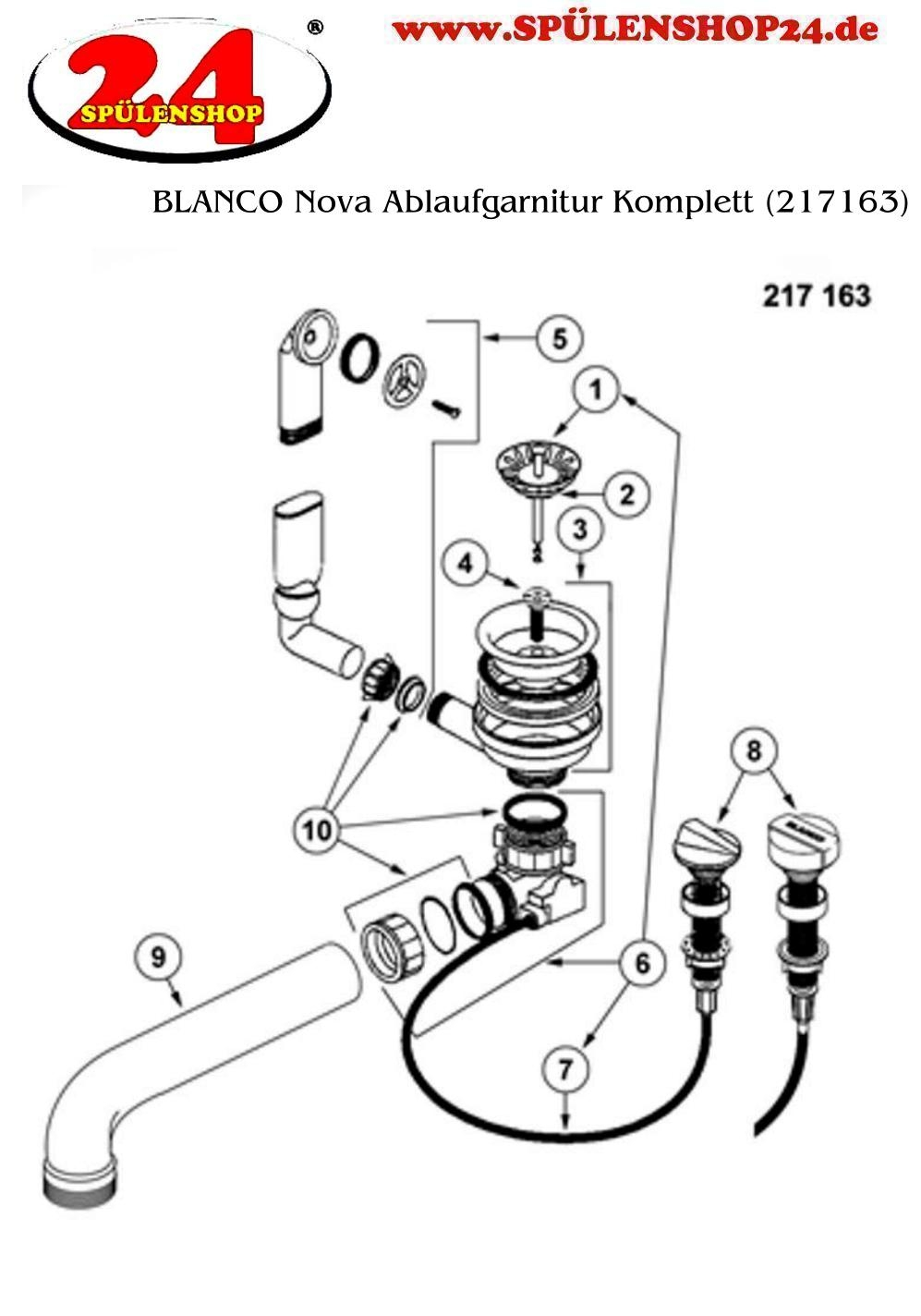 Blanco Nova Ablaufgarnitur Komplett 217163 Gunstig