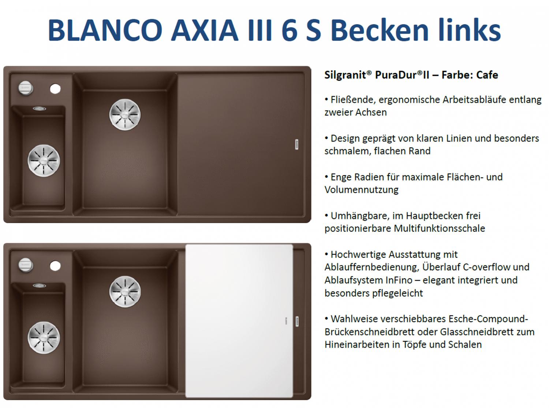Blanco Axia III 6 S Jasmin Einbau Granit-Spüle Küchenspüle Spülbecken