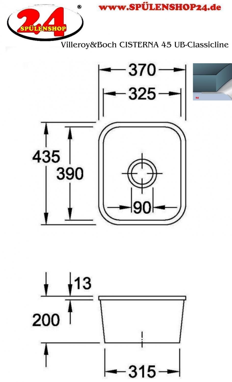 villeroy boch cisterna 45 ub kaufen i sp lenshop24. Black Bedroom Furniture Sets. Home Design Ideas