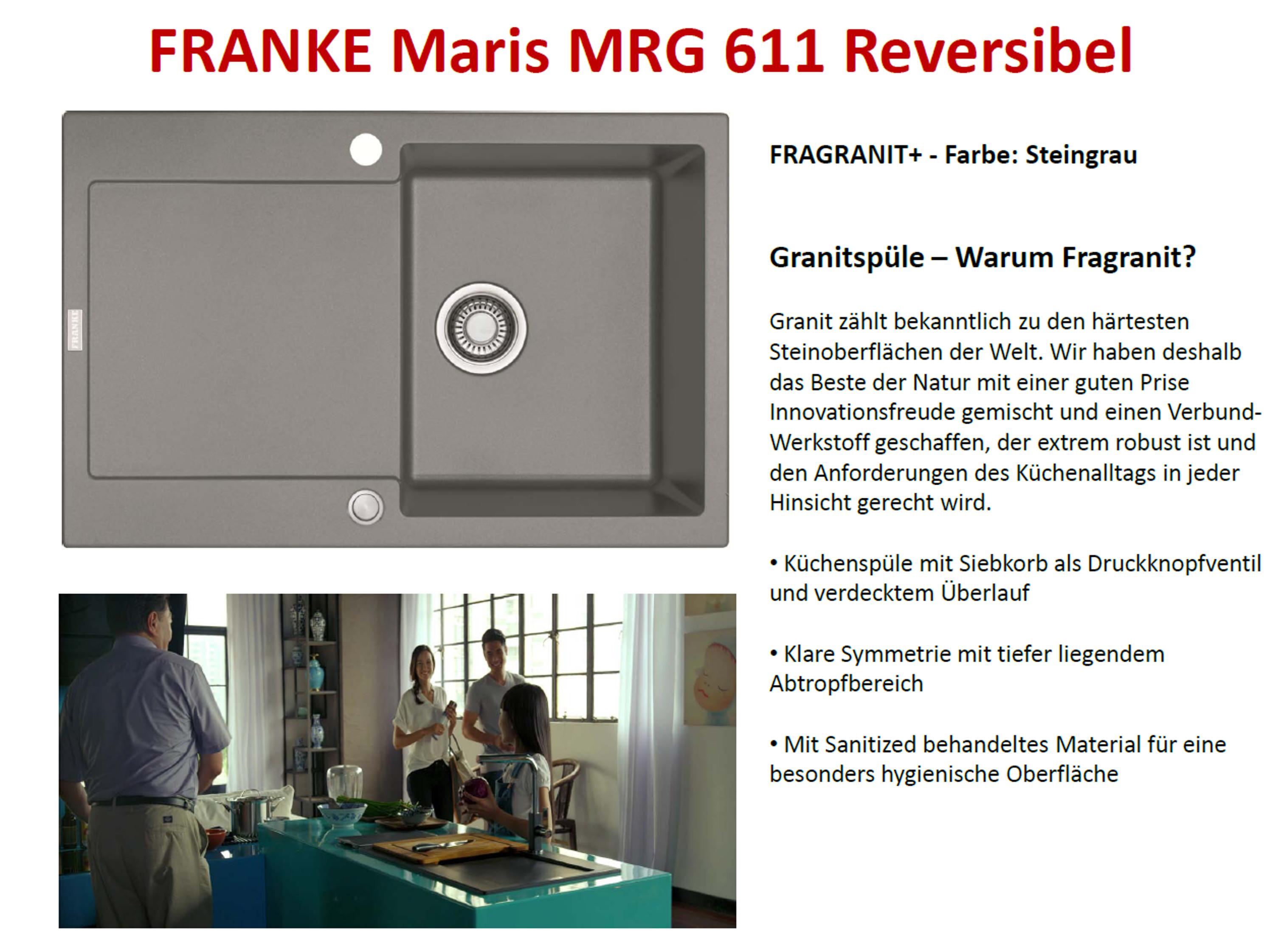 Franke Maris MRG 611 Graphit Granitspüle  Druckknopfventil