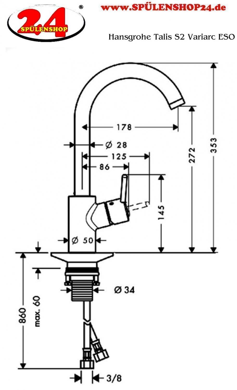 Modell hansgrohe talis s2 variac 14870 800 markenprodukt for Hansgrohe talis s2 variarc