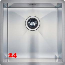 REGINOX Küchenspüle Ontario 40x40 (L) Null Radius Einbauspüle Edelstahl 3 in 1 mit Flachrand Siebkorb als Stopfenventil