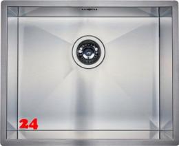 REGINOX Küchenspüle Ontario 50x40 (L) Null Radius Einbauspüle Edelstahl 3 in 1 mit Flachrand Siebkorb als Stopfenventil
